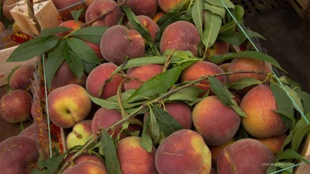 peaches in Market Ortygia, Syracuse photographed by Serge Briez ©2014 Cap médiations, Thera Explorer