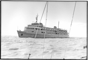 Argentine war vessel on the Rio de la Plata, April, 1982, photographed by Serge Briez, ©2014 Cap médiations
