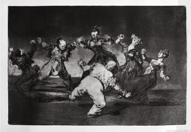 "Print from the series ""Los Disparates"" (1864) by Francisco Goya. Plate 12 : ""Disparate alegre"" photographed by Serge Briez ©2014 Cap médiations"