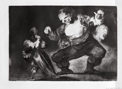 "Print from the series ""Los Disparates"" (1864) by Francisco Goya. Plate 04 : ""Bobalicón"" photographed by Serge Briez ©2014 Cap médiations"