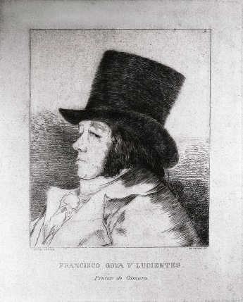 "Print from the series ""Los Caprichos"" (1864) by Francisco Goya. Plate 01 : ""Francisco Goya y Lucientes, Pintor"" photographed by Serge Briez ©2014 Cap médiations"