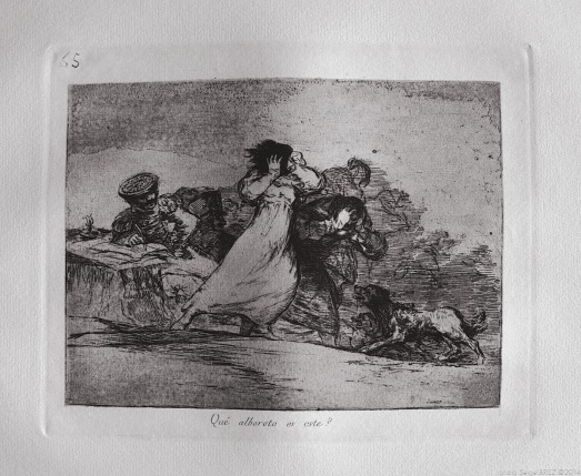 "Print from the series ""Disasters of War"" by Francisco Goya. Plate 65 : ""Qué alboroto es este?"" photographed by Serge Briez ©2014 Cap médiations"