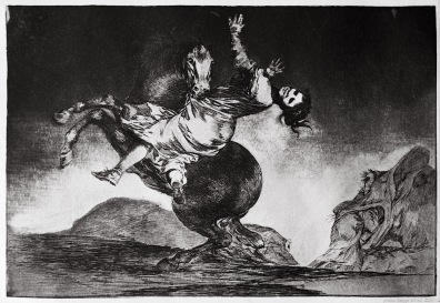 "Print from the series ""Los Disparates"" (1864) by Francisco Goya. Plate 10 : ""El caballo raptor"" photographed by Serge Briez ©2014 Cap médiations"