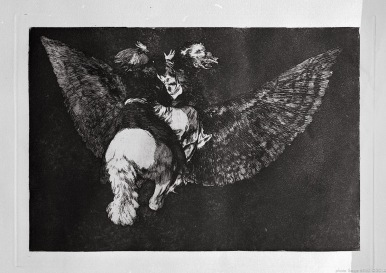 "Print from the series ""Los Disparates"" (1864) by Francisco Goya. Plate 05 : ""Disparate volante"" photographed by Serge Briez ©2014 Cap médiations"