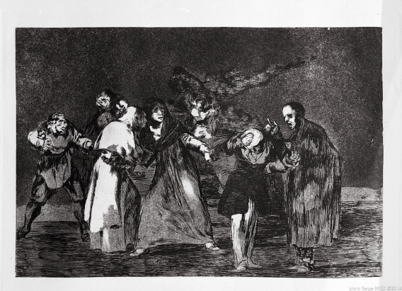 "Print from the series ""Los Disparates"" (1864) by Francisco Goya. Plate 16 : ""Las exhortaciones"" photographed by Serge Briez ©2014 Cap médiations"