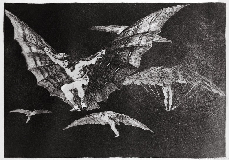 "Print from the series ""Los Disparates"" (1864) by Francisco Goya. Plate 13 : ""Modo de volar"" photographed by Serge Briez ©2014 Cap médiations"