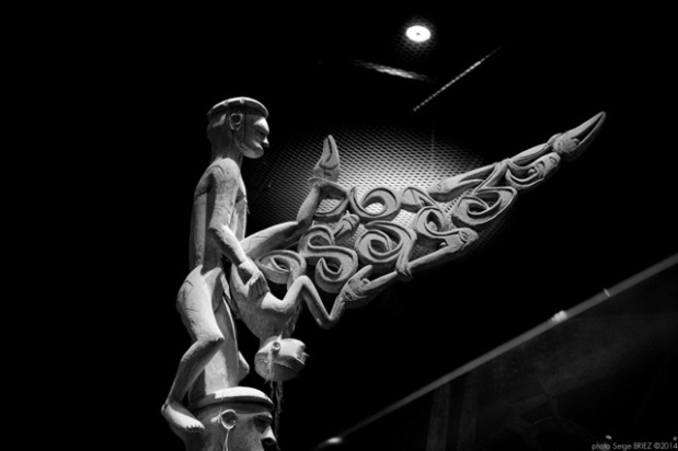 anthropomorphic sculptures hybrid, Primitive art,in museum quai Branly photographed by Serge Briez, ©2014 Cap médiations
