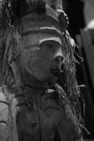 Primitive art, anthropomorphic masks, in museum quai Branly photographed by Serge Briez, ©2014 Cap médiations