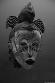 Primitive art, anthropomorphic masks, Nigeria, in museum quai Branly photographed by Serge Briez, ©2014 Cap médiations