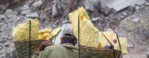 Sulfur picker in Java ©Serge Briez, Cap médiations 2014