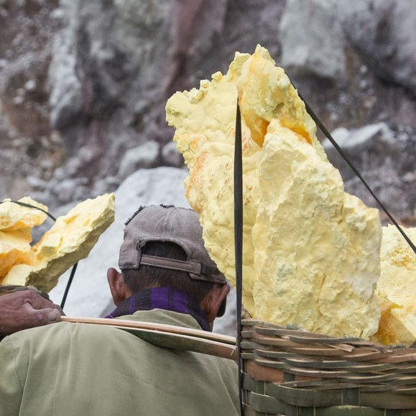 Sulfur picker in Java ©Serge Briez, Cap médiations 2014