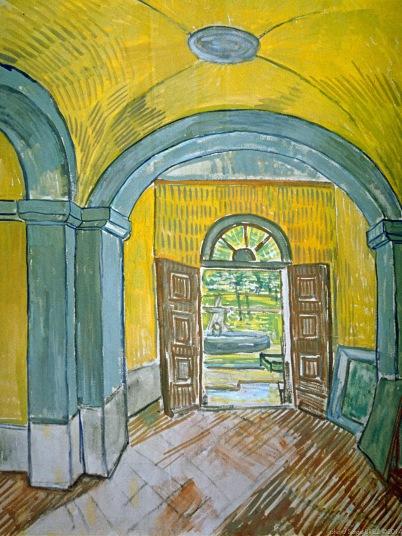 The Lobby of the Asylum, l'entrée de l'Asile, Octobre 1889, Van gogh's painting photographed by Serge Briez, ©2014 Cap médiations
