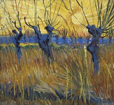 willows at sunset, Saules au soleil couchant, 1888, Van gogh's painting photographed by Serge Briez, ©2014 Cap médiations