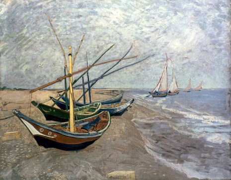 Boats of Saintes-Maries-de-la-Mer, Barques de Saintes-Maries-de-la-Mer, 1888, Van gogh's painting photographed by Serge Briez, ©2014 Cap médiations