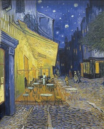 Arles - Café Terrace at night, instead of the Forum (1888, September), Van gogh's painting photographed by Serge Briez, ©2014 Cap médiations