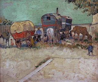 Campement de Bohémiens, Encampment of Gypsies with Caravans, Aout 1888 , Van gogh's painting photographed by Serge Briez, ©2014 Cap médiations