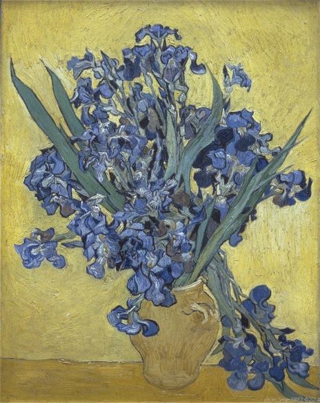Still Life with Irises Saint-Remy, Nature morte aux iris, Saint-Rémy, mai 1890, Van gogh's painting photographed by Serge Briez, ©2014 Cap médiations