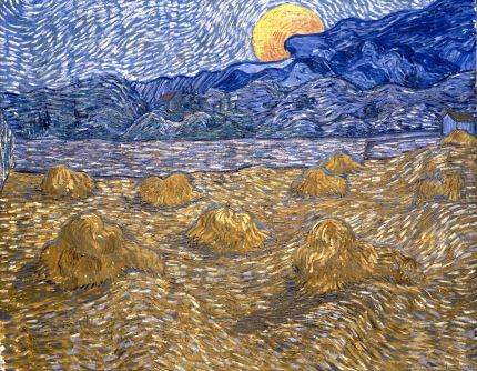 Landscape with Wheat Sheaves and Rising Moon, Lever de Lune, 1889, Van gogh's painting photographed by Serge Briez, ©2014 Cap médiations