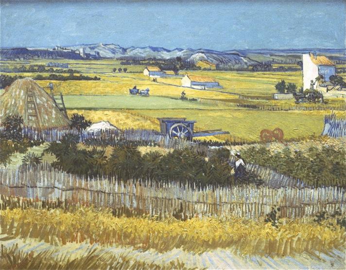 Plain of the Crau with ruin Montmajour,La plaine de la Crau avec la ruine de Montmajour, 1888, Van gogh's painting photographed by Serge Briez, ©2014 Cap médiations