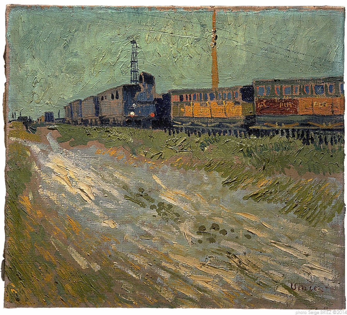 Railway wagons, Wagons de chemin de fer, août 1888, Van gogh's painting photographed by Serge Briez, ©2014 Cap médiations
