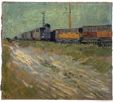 Railway wagons, Wagons de chemin de fer, août 1888, Van gogh's painting photographed by Serge Briez, ©2014 Cap médiations