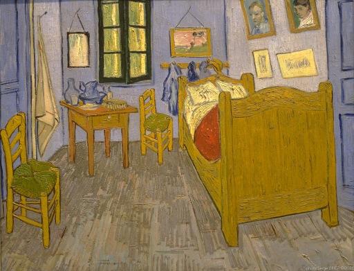 Bedroom in Arles, Chambre à coucher à Arles, 1888, Van gogh's painting photographed by Serge Briez, ©2014 Cap médiations