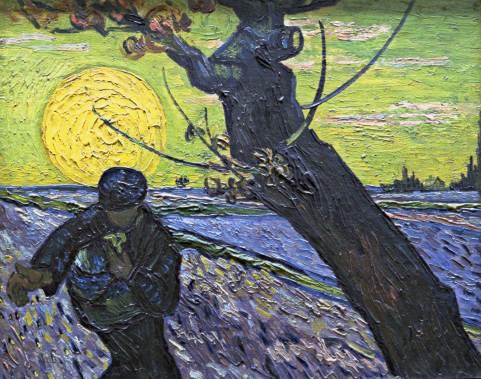 Semeur au soleil couchant, sower with sunset, Van gogh's painting photographed by Serge Briez, ©Serge Briez, Cap médiations
